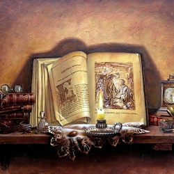 Пазл онлайн: Старинные книги