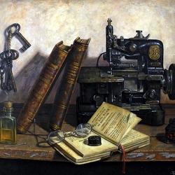 Пазл онлайн: Книги и швейная машинка
