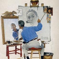Пазл онлайн: Тройной автопортрет