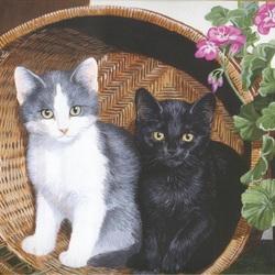 Пазл онлайн: Два котёнка