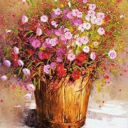 Пазл онлайн: Цветы в деревянном ведре