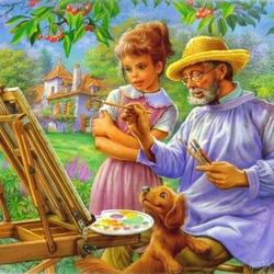 Пазл онлайн: Урок живописи