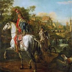 Пазл онлайн: Портрет гусара на коне