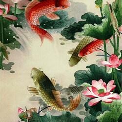 Пазл онлайн: Карпы и лотосы. Китайская вышивка Су