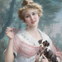 Пазл онлайн: Девушка с щенком
