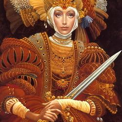Пазл онлайн: Девушка с мечом