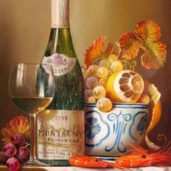 Пазл онлайн: Натюрморт с вином, фруктами и креветками