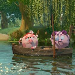 Пазл онлайн: Нюша и Бараш на реке