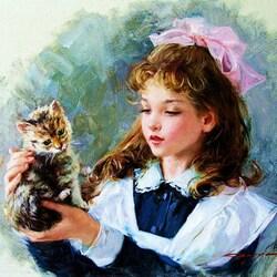 Пазл онлайн: Девочка и котенок