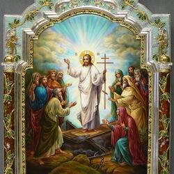 Пазл онлайн: Икона Воскресение. Ростовская финифть