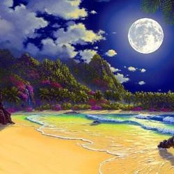 Пазл онлайн: Пляж при луне