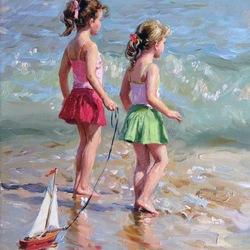 Пазл онлайн: Девочки и море