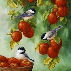 Пазл онлайн: Яблоки и птицы