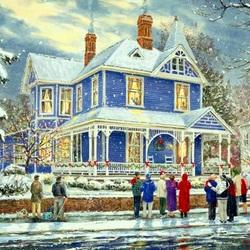 Пазл онлайн: В зимние праздники