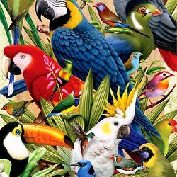 Пазл онлайн: Разноцветные попугайчики