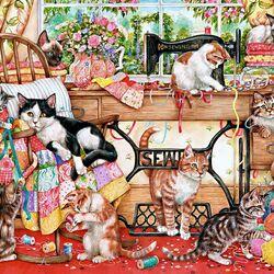 Пазл онлайн: Кошечки портнихи