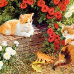 Пазл онлайн: Рыжики в цветочках