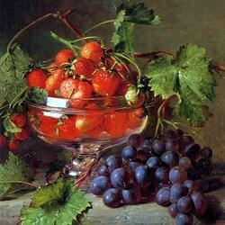 Пазл онлайн: Натюрморт с виноградом и клубникой
