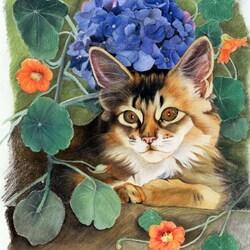 Пазл онлайн: Котик в цветах