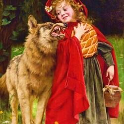 Пазл онлайн: Красная шапочка и волк