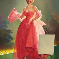 Пазл онлайн: Девушка в розовом