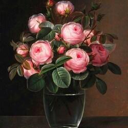 Пазл онлайн: Розы в стеклянной вазе
