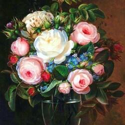Пазл онлайн: Розы и незабудки