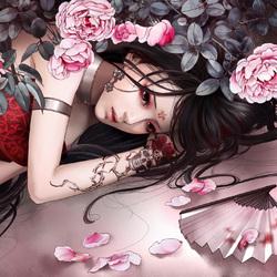 Пазл онлайн: Девушка и розы