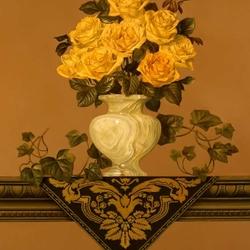 Пазл онлайн: Green Vase Yellow Roses / Зеленая ваза с желтыми розами