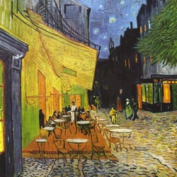 Пазл онлайн: Терраса кафе ночью. Арле.1888