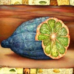 Пазл онлайн: Синий лимон и розовый слон