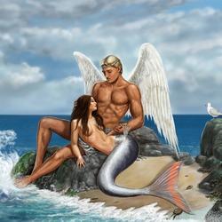 Пазл онлайн: Ангел и русалка