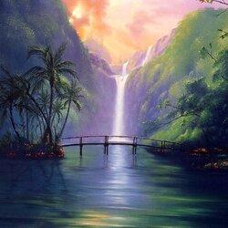 Пазл онлайн: Тропический водопад