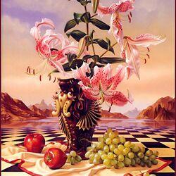 Пазл онлайн: Натюрморт с лилиями