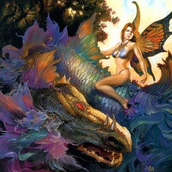 Пазл онлайн: Радужный дракон