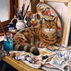 Пазл онлайн: Кот-художник
