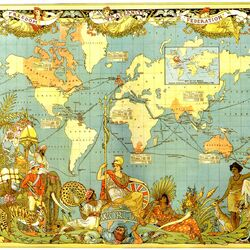 Пазл онлайн: Старинная карта мира. Владения Англии