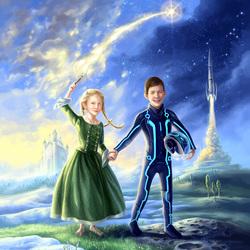 Пазл онлайн: Принцесса и космонавт