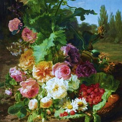 Пазл онлайн: Натюрморт с розами, малиной и персиками