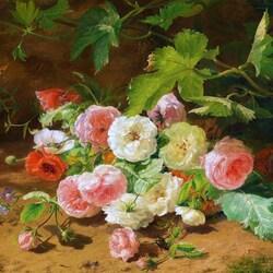 Пазл онлайн: Розы и маки
