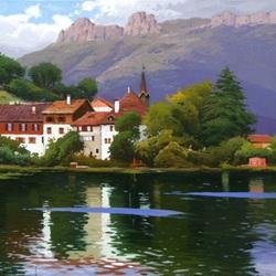 Пазл онлайн: Швейцария. Рыбацкая деревенька