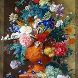 Пазл онлайн: Цветы в терракотовой вазе