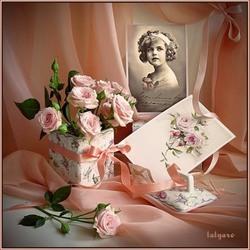 Пазл онлайн: Девочка с розами