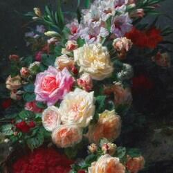Пазл онлайн: Натюрморт с розами, гладиолусами и малиной