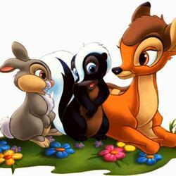 Пазл онлайн: Бэмби и его друзья