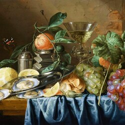 Пазл онлайн: Натюрморт с устрицами и виноградом