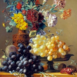 Пазл онлайн: Натюрморт с виноградными гроздьями