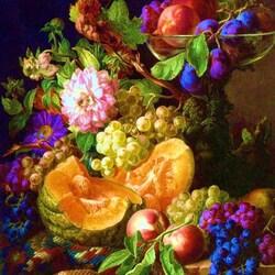 Пазл онлайн: Сливы и виноград с осенними цветами