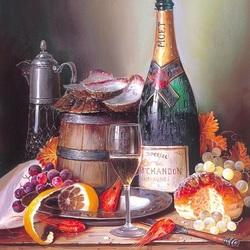Пазл онлайн: Натюрморт с вином и креветками