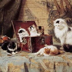 Пазл онлайн: Любознательные котята